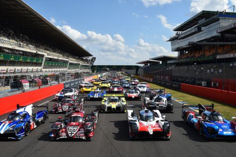A picture taken on June 2, 2018, at the Le Mans circuit, northwestern France, shows the 60 cars that will compete at the test day of the 86th 24-hours endurance race. -  (Photo by JEAN-FRANCOIS MONIER / AFP)        (Photo credit should read JEAN-FRANCOIS MONIER/AFP/Getty Images)